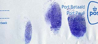 Fingerprints in blood on envelope after staining with Leuco Crystal Violet (LCV).