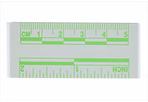 Green, fluorescent ruler, 5 cm
