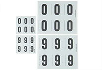 Sets of self-adhesive numbers 0-9 in two sizes (H-20000 and H-20100)