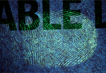 Fingerprint on red label developed with SPR UV, excitation with 365 nm light.