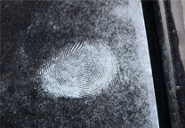 Close up of one of the developed marks.